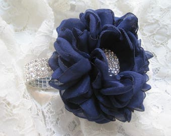 Navy Blue Chiffon Flower Bracelet Wrist Corsage or Designed in Your Colors Custom Order Wedding Prom Homecoming Winter Formal Accessories