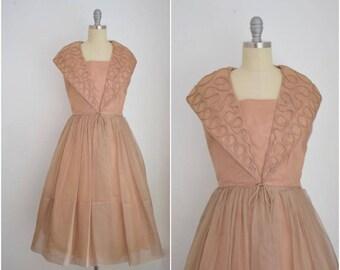 Vintage 1960s Elinor Gray Tan Organdy Cocktail Dress
