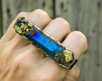 TRIPLE RING - QUARTZ and Pyrite