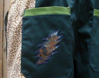 mens patchwork Dude Shorts green hippie cheetah tribal seven  30 32 34 36 38 40 earthy ready to ship festival burner