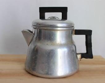Vintage Wear-Ever Small Aluminum Percolator  Coffee Pot No. 3002