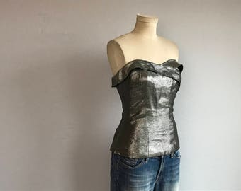 Vintage 50s Silver Strapless Top / 1950s Fitted Silver Metallic Lurex Evening Top
