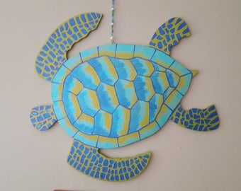 Made to Order Sea Turtle Wall Art, Door Hang, hand crafted,hand cut wood,hand painted! Or have yours custom made w/ any color combo!