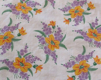 lavender and yellow floral print vintage FULL feedsack fabric