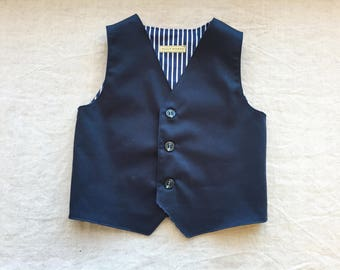 Ring bearer outfit navy blue baby toddler boy vest waistcoat nautical beach wedding