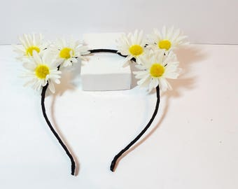 Floral Cat ear headband -Black Cat - sunflower cat Ear Headband - daisies cat ears