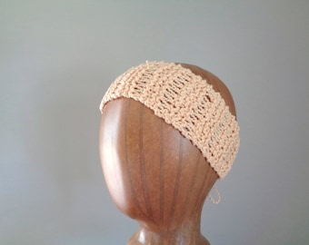 Yellow Cotton Headband, Hand Knit Tie Back, Head Wrap Scarf, Cute Chic Summer Fashion, Women Teen Girls, Open Lace Design