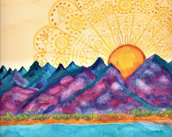 Ocean Sunset Watercolor Painting - Nature Art Wall Hanging Sunrise Mountains Landscape Print