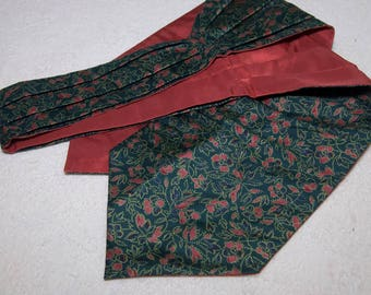 Vintage Raw Silk Floral Mens Ascot