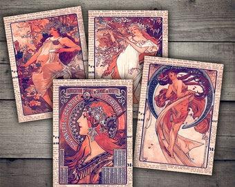 Alfons Mucha Women Cards -  Digital Collage Sheet Printables