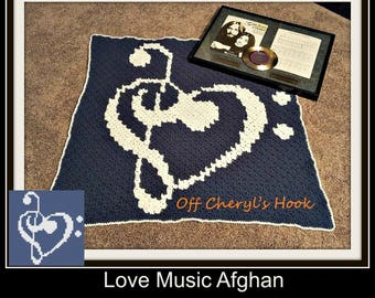 Love Music Lapghan, C2C Graph, Navy and White, Written Word Chart