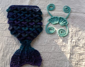 Crochet Mermaid Tail, Baby Mermaid Tail, Newborn Mermaid Tail, Infant Mermaid Tail, Baby Photo Prop, Mermaid Cocoon, Mermaid Costume, Blue