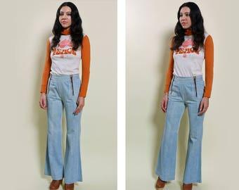 70s Jean Genie Denim Flare Jeans Size 27-28″ Waist