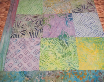 """14"""" x 14"""" PILLOW COVER - Soothing Nature Greens and Mysterious Purples Turtle Cove 9 Squares Fine Cotton Batiks"""