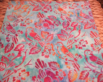 """14"""" x 14"""" Fine Batiks PILLOW COVER - Butterflies against soothing Lilac Sky with Aqua Multicolors"""