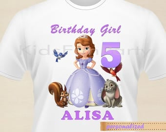 Disney Sofia the First T-Shirt - Personalized -  Birthday Girl - Birthday Princess - Sofia the First  Party Favors