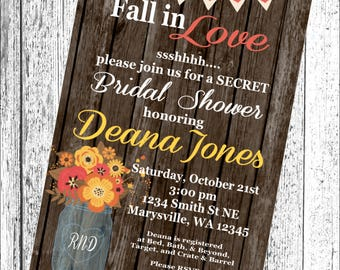 FALL IN LOVE Bridal Shower Invitations Set of 12 {1 Dozen} - Party Packs Available