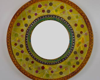 rustic industrial round wood mirror, 36 inches by 5 inches