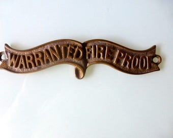 Antique Brass Plaque Warranted Fire Proof