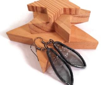 Charcoal Earrings Stained Glass Earrings Black Earrings Glass Metal Jewelry Handmade Jewelry Dangle Drop Earrings Black Spear Earring