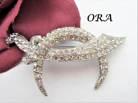 Clear Rhinestone Brooch - Signed ORA - Rhodium Sword Scimitar - Crescent Moon Pin