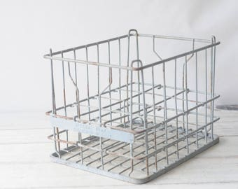 Wire Milk Crate Millers Dairy Metal Milk Crate 6-1953 Culver IND Milk Delivery Crate Box