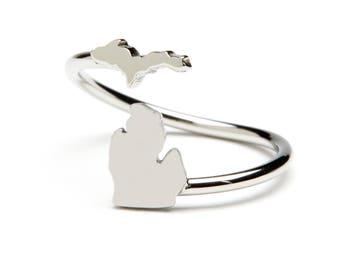 Michigan Ring | Michigan Map Ring Stainless Steel - Adjustable | Michigan Jewelry | Michigan Gifts