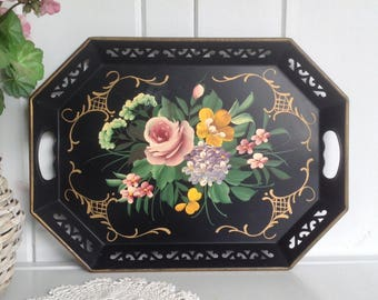 Vintage Hand Painted Tole Tray by Pilgrim Black Floral with Cut Work Edges and Handles