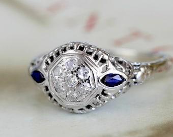 Antique Edwardian Diamond Sapphire Engagement Ring, 18k White Gold Diamond Cluster Ring, Edwardian Anniversary Ring, Art Deco Ring