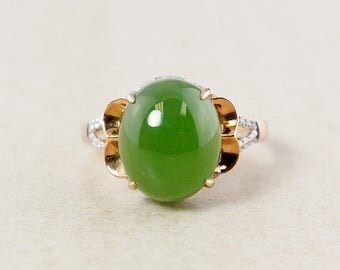 FLASH SALE Siberian Jade and White Diamond Ring – 18kt Rose Gold