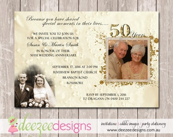 Wedding Anniversary Invitation - 50th Golden - YOU PRINT - A002