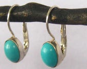 """Sterling & Turquoise Cabochon Drop Earrings with Lever Backs. Oval Cabs 3/8"""" L x 5/16"""" W Rest Low on Hook Wire for 1-1/16"""" L Total Earring"""