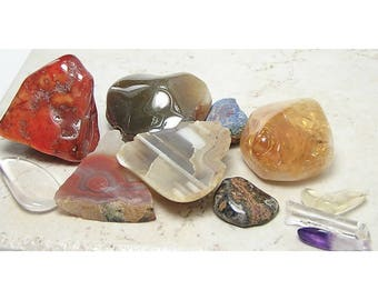 Polished Gemstone Mix, Agate, Quartz, Amethyst, Citrine Treasure Trove Tumble Polished geo gems for crafting, amulets or display