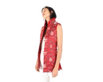 90s Chinese / Cheongsam Rabbit Fur High Collar Bright Red SILK Oriental Top / Longline Vest