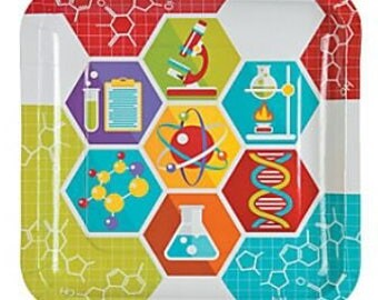Science Party Dinner Plates, Paper Plates, Chemistry Theme Birthday, Tableware