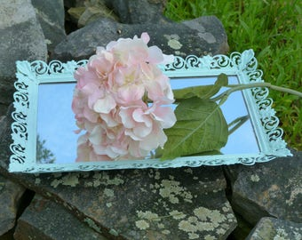 Aqua Blue Cottage Chic Mirror Tray, Beach Decor Table top, Shabby and Chic Jewelry Tray, Organize, Make Up, Bathroom Decor