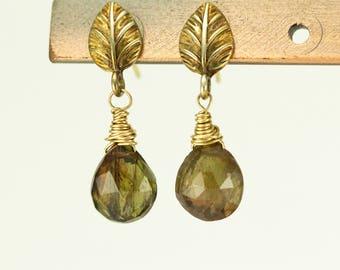 Andalusite Gold Earrings - Filigree 24k Gold Post Dangles - Gemstone Leaf Earrings