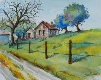 The Old Bunk House - plein air watercolor painting