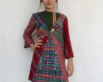 Multicolored bright 70s patchwork shift dress