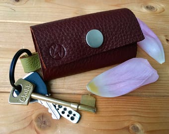 Handmade in UK soft thick 2-colour brown leather key pouch key case key holder