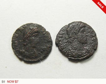 2 Ancient authentic Roman coins, coins for earrings, rings or charms or keep as specimens. (c31971 )