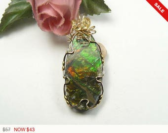"""Ammolite Designer Gemstone Cabochon wire wrapped in 14kgf wire, 1 1/2"""" long, beautiful multi colored ammolite, with natural Citrine beads"""