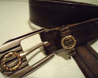 Vintage 1990s Boho Chic Dark Black Coffee Distressed Leather Belt