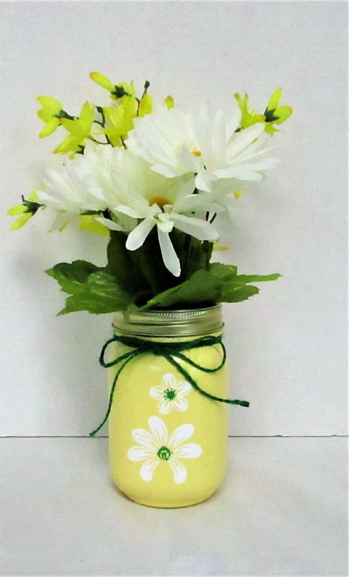 Yellow spring vase mason jar vase spring decor bathroom yellow spring vase mason jar vase spring decor bathroom decor home decor housewarming gift mason jar decor mothers day gift reviewsmspy