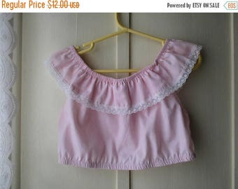 ON SALE 1980's Pink Ruffle Crop Top and Pleated Dress Shorts Set / Pastel Pink Culottes and matching shirt / Pretty in Pink Outfit / Girl's