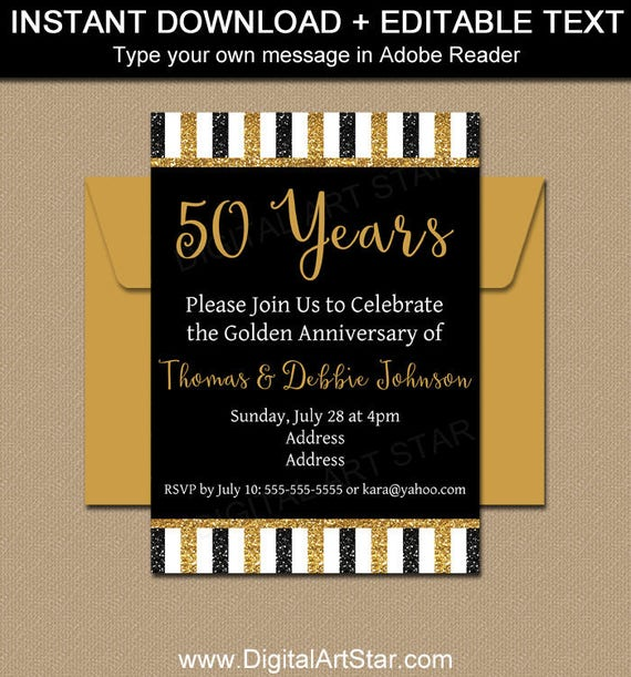 printable 50th anniversary invitations black and gold invitation golden anniversary party invites 50th wedding anniversary party ideas b4 - 50th Anniversary Party Invitations
