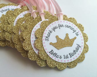ADD ON- 12 Gold Glitter Personalized Tags with Gold Glitter CAROUSEL (No Ribbon)