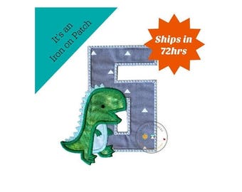 ON SALE NOW Dinosaur birthday number six machine embroidered patch, fast shipping iron on Dino birthday applique, green and gray number 6