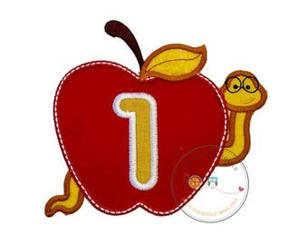 ON SALE NOW Teacher red apple with bookworm and number one iron on applique, Embroidered back to school no sew patch, Large first grade red