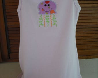 Baby girl knit dress with jellyfish. 100% cotton knit. Machine appliqued and embroidered. Size 2-3.